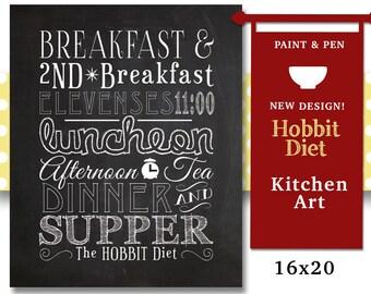 Kitchen Art- Hobbit Diet Chalkboard- Gift for Man- Times to Dine- Second Breakfast- Kitchen Chalkboard- Custom Color to Match Decor