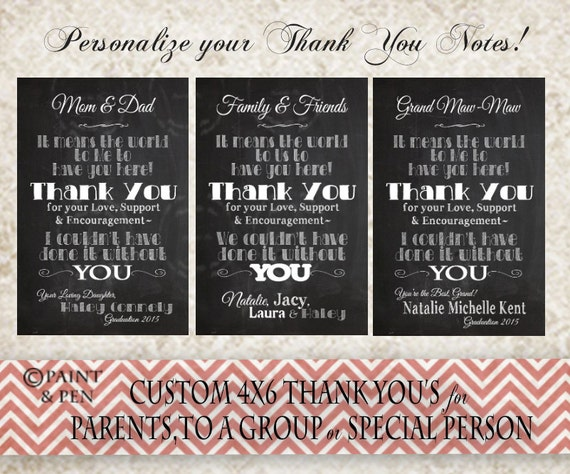 Custom Mini Thank You Cards Graduation Handouts College Grad Etsy