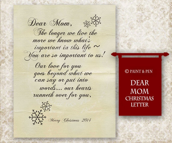 Items similar to Dear Mom  Christmas Card Insert  Letter To Mom  A