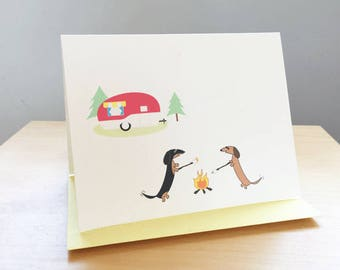 Dachshunds Camping Note Cards - Set of 10