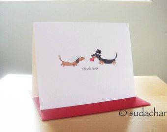 Dachshund Bride and Groom Engagement. Bridal Shower. Wedding Thank You Cards (Set of 10)