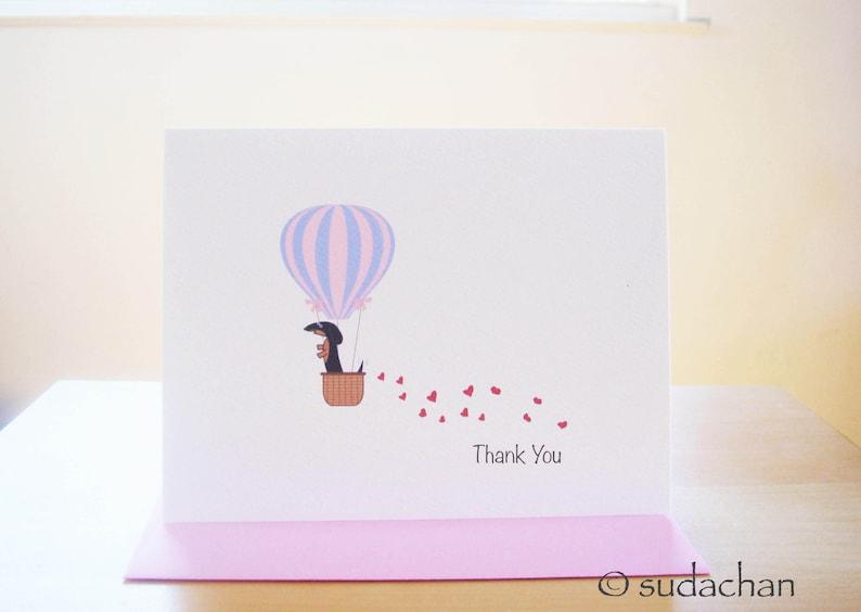 Dachshund in Hot Air Balloon Thank You Note Cards Set of 10 Black.Tan Dachshund