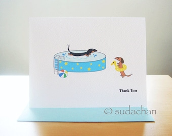Dachshund Pool Party Thank You Cards. Personalized Note Cards - Set of 10