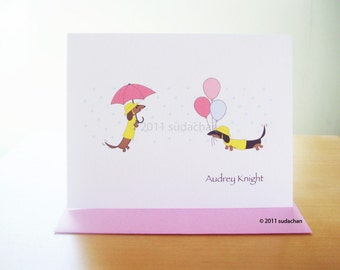 Dachshund in Rain Coats Note Cards - Choose Your Color - Dachshunds With Balloons (set of 10)