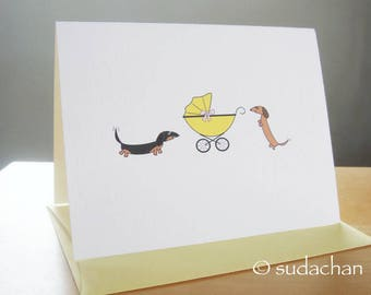 "Dachshunds with Buggy.Carrier.Stroller.Pram Note Card - Choose Your Color - Single Card (4.25"" x 5.5"")"