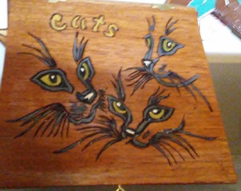 Vintage Cigar Box with Cats