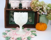 Vintage Milk Glass Compote, White Scalloped Rim Candy Dish, Footed Nut Bowl, White Candle Holder, Small Table Vase, Wedding Decor Tableware