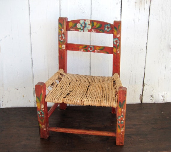 Awesome Vintage Painted Kids Chair Small Child Decor Mexican Red Floral Folk Art Photo Prop Rustic Hacienda Gmtry Best Dining Table And Chair Ideas Images Gmtryco