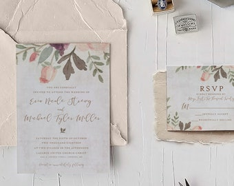 Floral on Stone Wedding Invitation Template + RSVP | Watercolor Rose Concrete | Instant Download, Templett, Printable