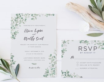 Watercolor Eucalytus Wedding Invitation Templett + RSVP | Sage Green Garden | Invitation Template