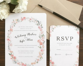 Watercolor Floral Wreath Wedding Invitations + RSVP | Pink Rose Border | Printed Wedding Stationery