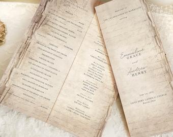 Story Book Wedding Program Template | Printable Church Outline | Library Storybook Templett