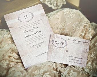 Linen Lace Wedding Invitation Template + RSVP | Vintage Rustic Romantic Stationery | Invitation Templett