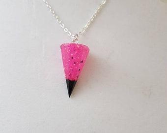 Faux crystal pendulum necklace