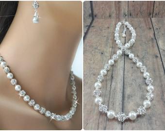 Pearl Wedding Jewelry, Bridal Jewelry Pearl Necklace, Wedding Necklace, Pearl Bridal Necklace, Bride Pearl Jewelry, Rhinestone Necklace