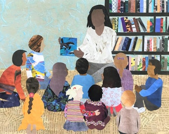 """Story Time at the Library - giclee reproduction - 5"""" x 7"""""""