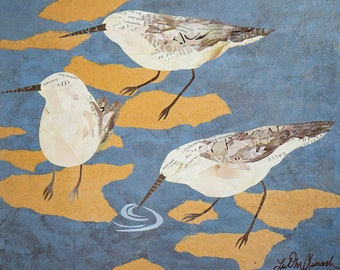 """Sanderlings on the Sound - giclee reproduction - 8"""" x 10"""""""