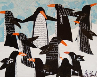 """Penguin Party - giclee reproduction - 5"""" x 7"""""""