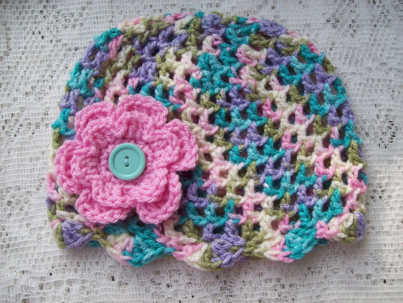 Beanie Hat Cap Girl Toddler Pastel Pink with Flower Crochet 17 Boutique Style
