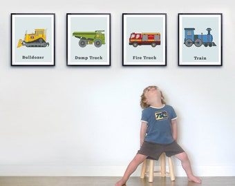 Toddler Room Wall Art Set Of Four Prints Transportation Print Big Boys Truck Decor Tractor