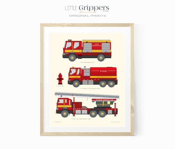 Fire Truck Printable Boys Room Decor Kids Chart Print Etsy