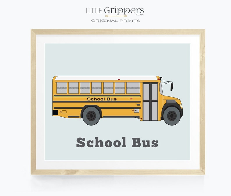 School bus decor Transportation vehicle wall art Print for image 0