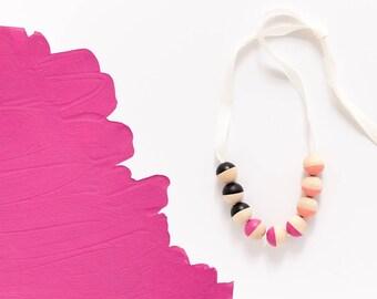 Black, Fuchsia, Coral, Mini Ribbon Necklace
