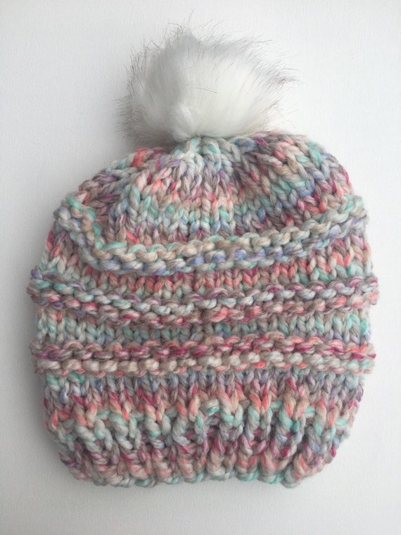 Pastel Multi-colored Faux Fur Pom Pom Hat  56862c833a5