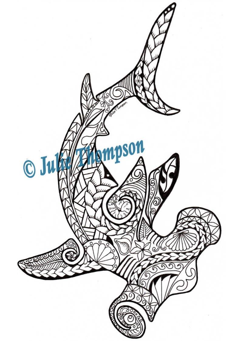 Tribal Hammerhead Shark hand-drawn printable coloring page ...