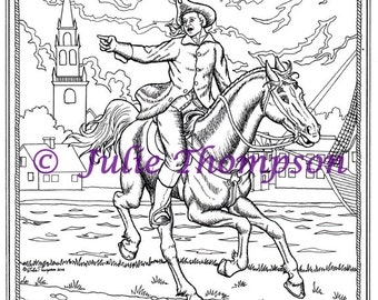 PAUL REVERE - hand drawn coloring page