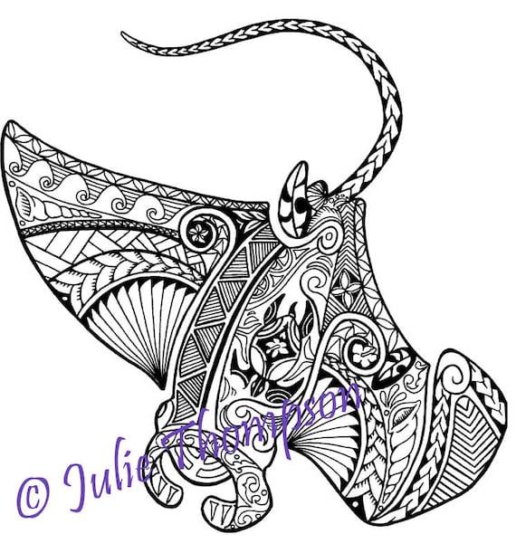 tribal polynesian manta ray coloring page etsy