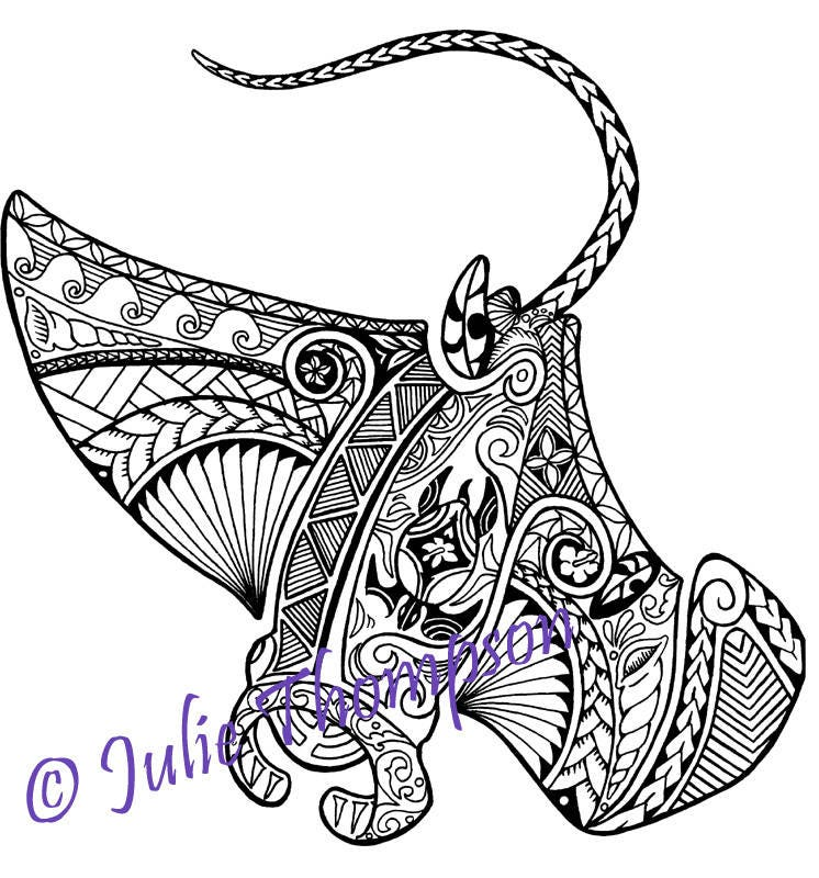 tribal polynesian manta ray coloring page