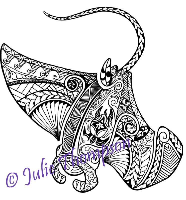 tribal polynesian manta ray coloring page