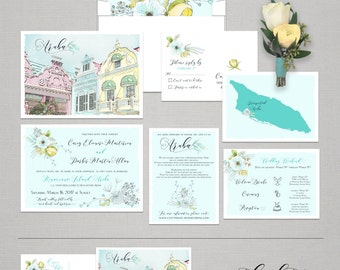 Destination wedding Aruba Oranjestad Wedding Invitation Set - Caribbean Wedding Set Deposit Payment