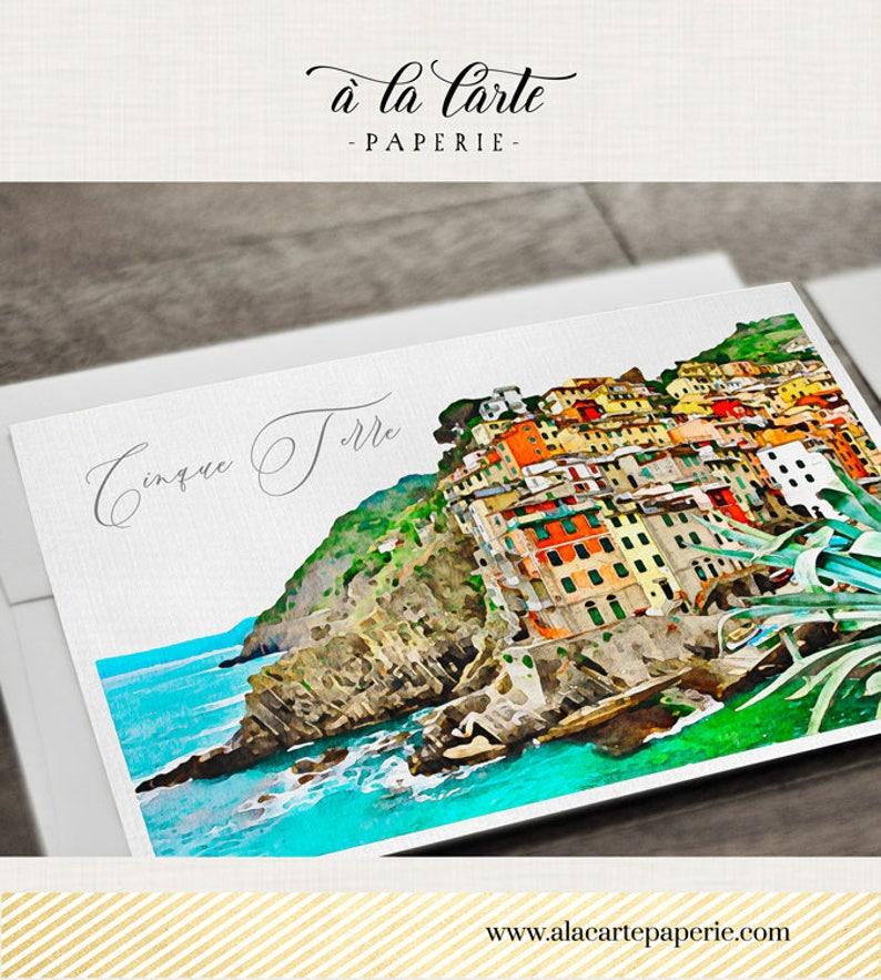 Destination wedding invitation Cinque Terre Italy Riviera Illustrated Wedding Invitation RSVP watercolor map Deposit Payment