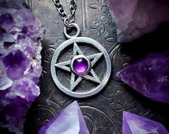 Synthetic Malachite /& amethyst triple moon goddess pentagram pendant pagan wicca