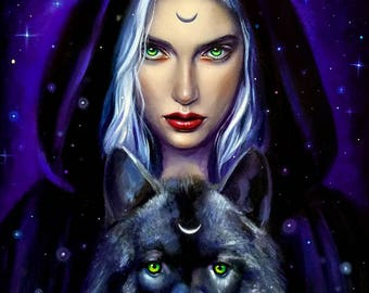 Wiccan art, 8x10 print, pagan art print, wiccan wolf art, gift for wolf lover, wolf art, witchcraft art, wicca wolf, wolf witch, magic wolf