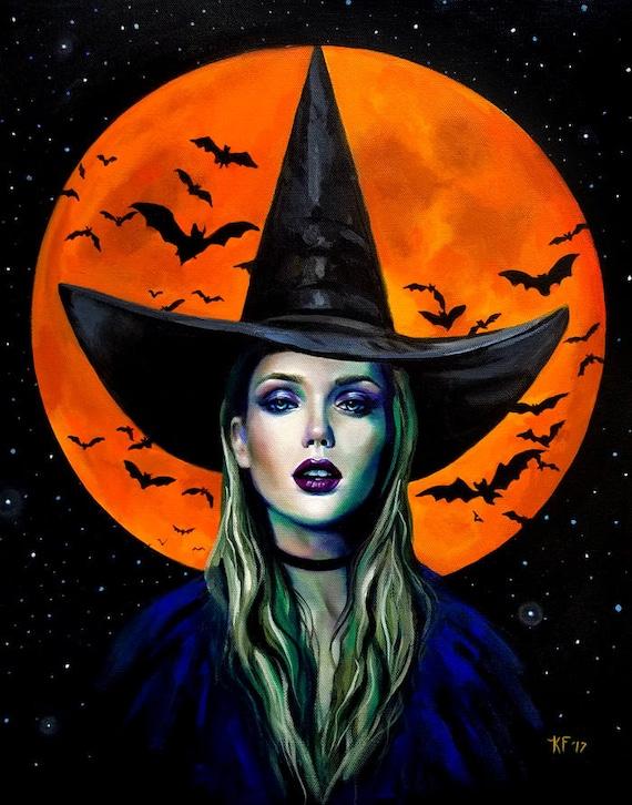 halloween artwork 8x10 witch halloween art witchcraft art etsy