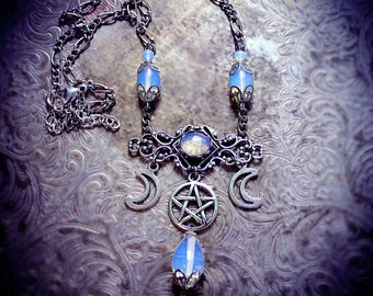 Celestial Goddess, crescent moon necklace, triple goddess jewelry, pentagram necklace, pentacle, wiccan jewelry, pagan necklace, opalite