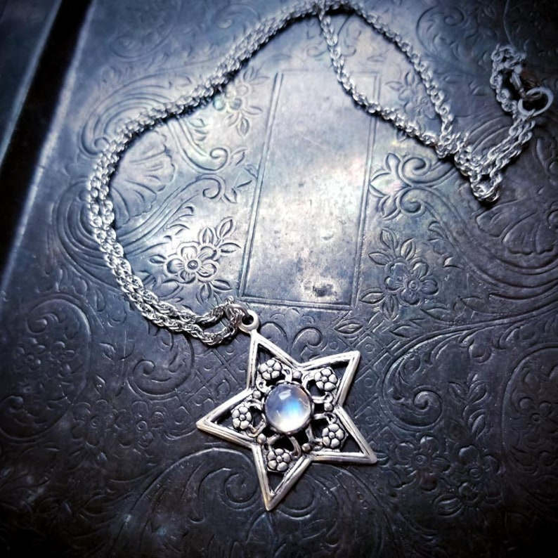 Rainbow Moonstone Star Pendant Necklace, star necklace, mystical jewelry,  fantasy jewelry, wiccan, pagan, witch, celestial, boho, bohemian