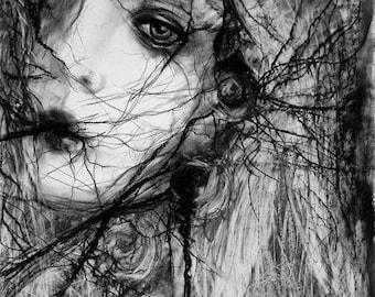 "12 x 12 , Fine Art Print, ""Briar Rose"", painting by Kamille Freske, dark art, gothic art, dark surreal, fantasy art, macabre art"
