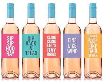 Everyday Wine Labels, Five per Pack, Wine Label for Friends, Hostess Gift, Summer Gift, Gift for Wine Lovers, Gift for Neighbours