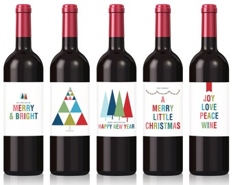 Holiday Wine Labels, Five per Pack, Custom Wine Label for Friends, Gift for Boss, Gift for Wine Lovers, Gift for Neighbours, Wine Lovers