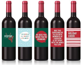Funny Holiday Wine Labels, Five per Pack, Wine Label for Friends, Gift for Boss, Gift for Wine Lovers, Gift for Neighbours, Wine Lovers