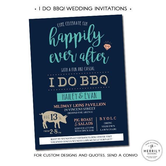 I Do Bbq Wedding Invitations Casual Wedding Invitation Etsy