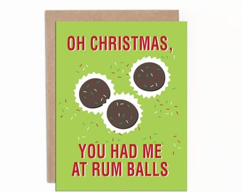 Funny Christmas Card, Funny Holiday Card, Card for Anyone, Card for Coworkers, Rum Balls, Card for Neighbour, Card for Friend, Handmade
