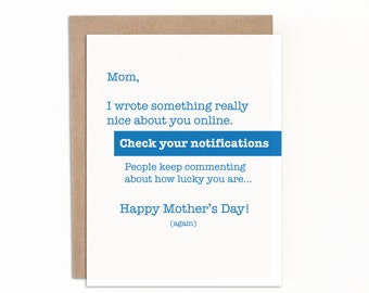 Sarcastic Card for Mom, Card from Son, Card from Daughter, Mother's Day Card, Individual Card with Premium Kraft Envelope, Funny Card