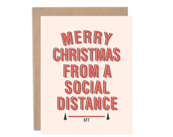 COVID Christmas, Merry Christmas from a Social Distance, Funny Christmas Cards, Covid-19 Christmas Card, Funny 2020 Cards, Greeting Cards