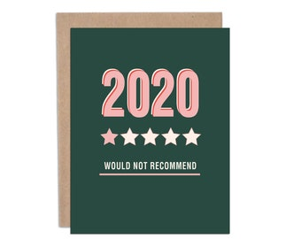 2020 Would Not Recommend, Funny Christmas Cards, Covid-19. Covid Christmas  Card, Funny 2020 Cards, Greeting Cards