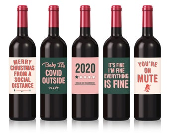 Covid Christmas Wine Labels, Christmas Labels, Funny 2020 wine labels, Gift for Neighbour, Gift for coworker, Set of 5